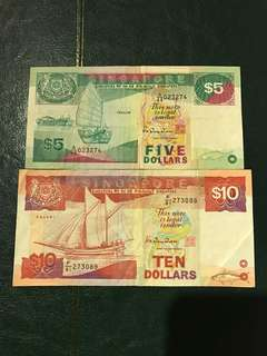 Singapore $5 and $10 Banknote