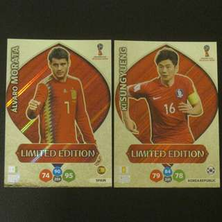2018 World Cup Russia Panini Adrenalyn Limited Edition - Alvaro MORATA / KI Sung Yueng #Spain #Korea Republic
