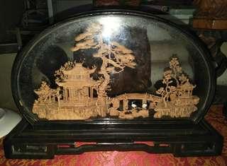 玻璃框木雕擺飾