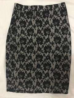 Black Lace Pencil Skirt Knee Length