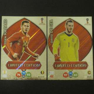 2018 World Cup Russia Panini Adrenalyn Limited Edition - Eden HAZARD / David DE GEA #Belgium #Spain