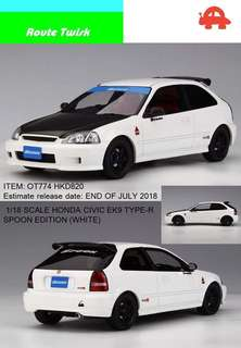 Honda Civic EK9 1/18 Spoon White version