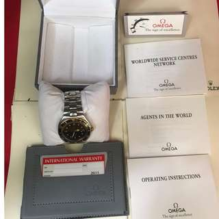 Ω 1989 OMEGA Seamaster 200m PRE-BOND 18K Gold/Steel 368.1041 Box+Papers Tropical Untouched!
