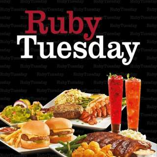 Ruby Tuesday 半價優惠 50% discount on food and beverage (includes alcohol)