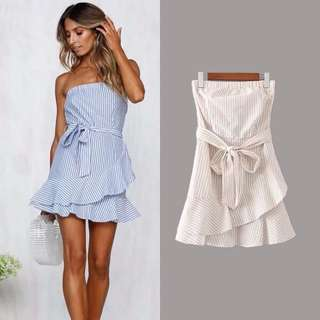 Strip blue off shoulder waist tie dress