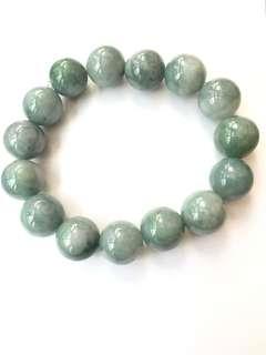 天然翡翠珠串手鏈,橡筋穿成,珠13mm,共15粒