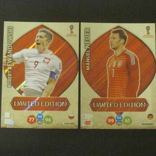 2018 World Cup Russia Panini Adrenalyn Limited Edition - Robert LEWANDOWSKI / Manuel NEUER #Poland # Germany