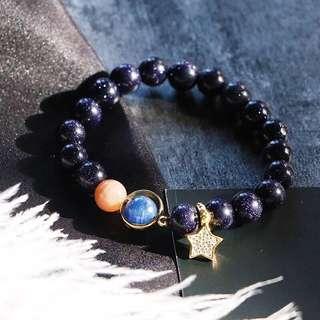 天然藍砂石+藍晶石+太陽石手鏈