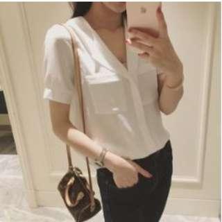 V-neck Autumn Wear White Blouse