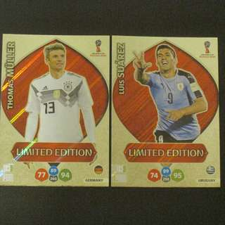 2018 World Cup Russia Panini Adrenalyn Limited Edition - Thomas MULLER / Luis SUAREZ #Germany # Uruguay