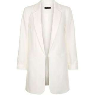 New Look white long line blazer plus size