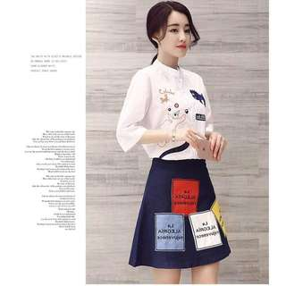 Embroidered Top & Denim Skirt Terno