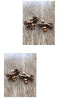 Tartan bow earrings