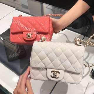(SOLD)Chanel Square Mini 白色 / 粉紅色😍