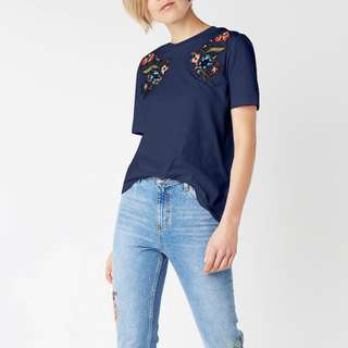 Embroidered Floral Cotton Top