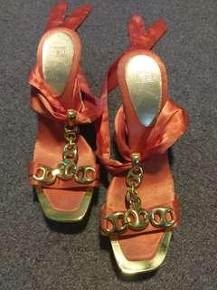 ~ Zu ~ Orange Wrap Up Shoes ~