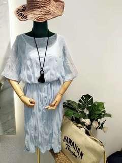 🚚 夏日水波紋洋裝(水藍色)