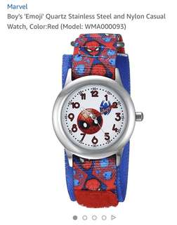 Marvel Boy's 'Emoji' Quartz Stainless Steel and Nylon Casual Watch, Color:Red (Model: WMA000093)