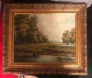 名貴百年英國實木古董畫框及油畫一set