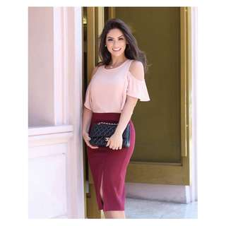 Cold Shoulder Top & Skirt Terno