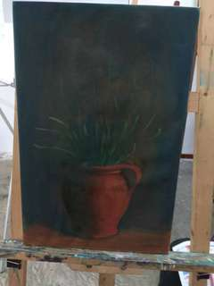 Oil Painting Of The Dark Night Vase