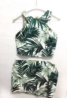 BARU!! ADA PAPER BAG! Palm Tree Crop Top + Skirt