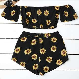 Off Shoulder Sunflower Coordinate