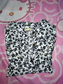 Black and white long sleeve button-down blouse
