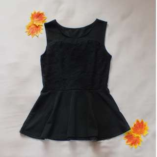 Black Peplum Sleeveless Top