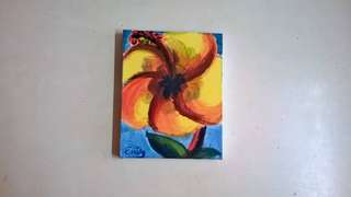 Hibiscus Intro Acrylic Painting Small Painting Yellow Hibiscus Flower Artwork Home Decor Wall Decor Simple Painting