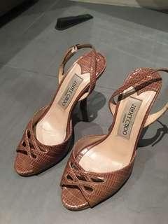 Jimmy Choo snakeskin taupe heels Sz 34.5