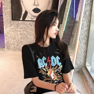 INSTOCKS ACDC Band graphic oversized rip tshirt top - black