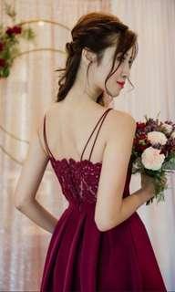 BN Thread Theory Beautiful Back to Back Dip Hem Dress in Burgundy (Bridesmaid)