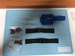 22mm 黑鋼錶帶