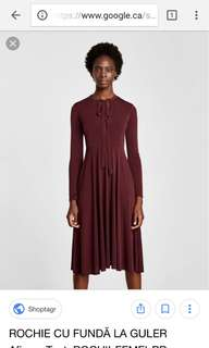 ZARA • Burgundy dress with neck tie