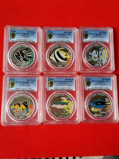 North korea.silver 1oz 1996 issued  set of.6 pieces of different colour fishes nice all pmg graded.at Pf68