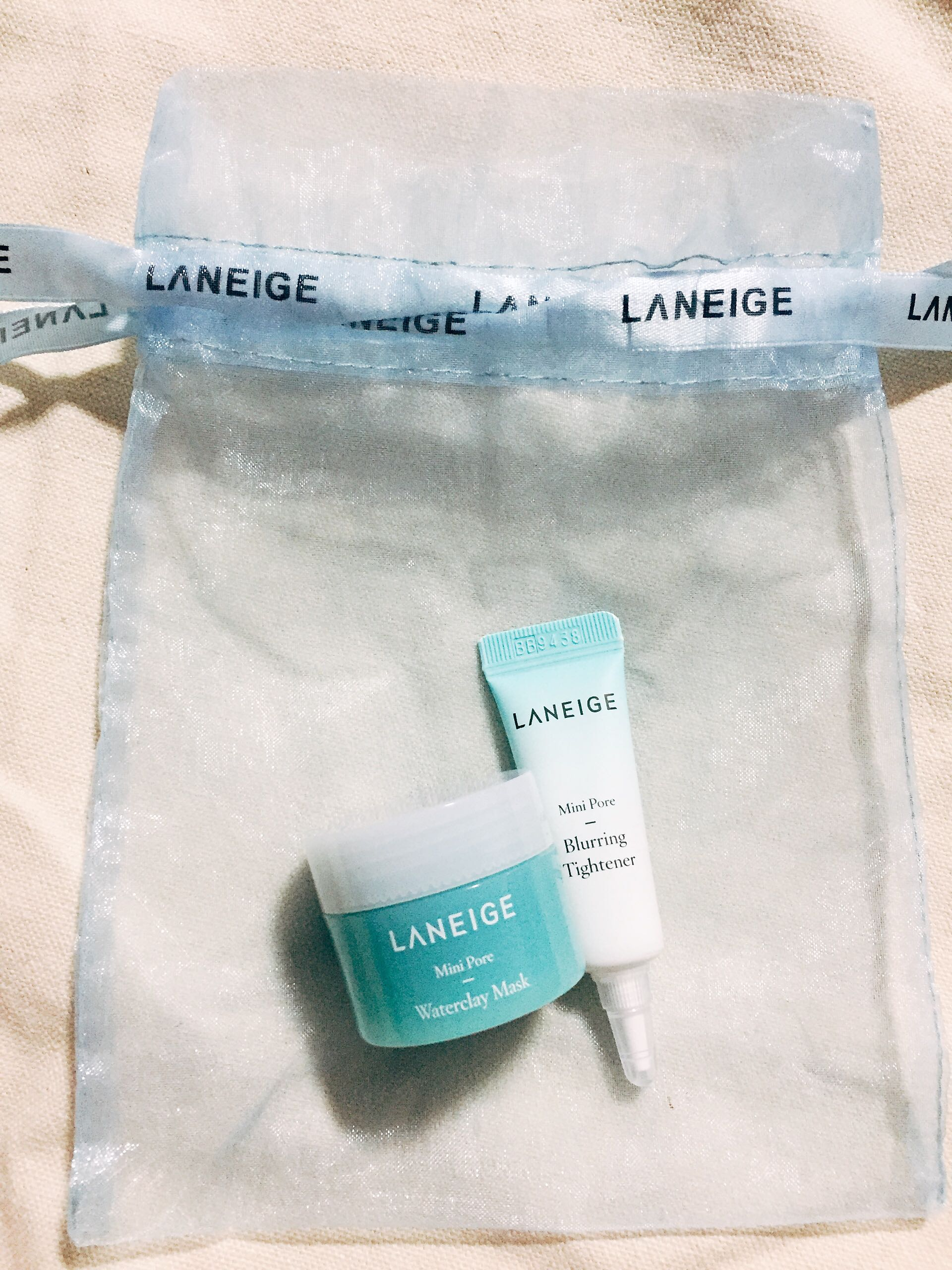 Laneige Mini Pore Blurring Tightener Products And Minis Wateclay Mask 2 Items Minipore Waterclay Health Beauty Face Skin Care On Carousell