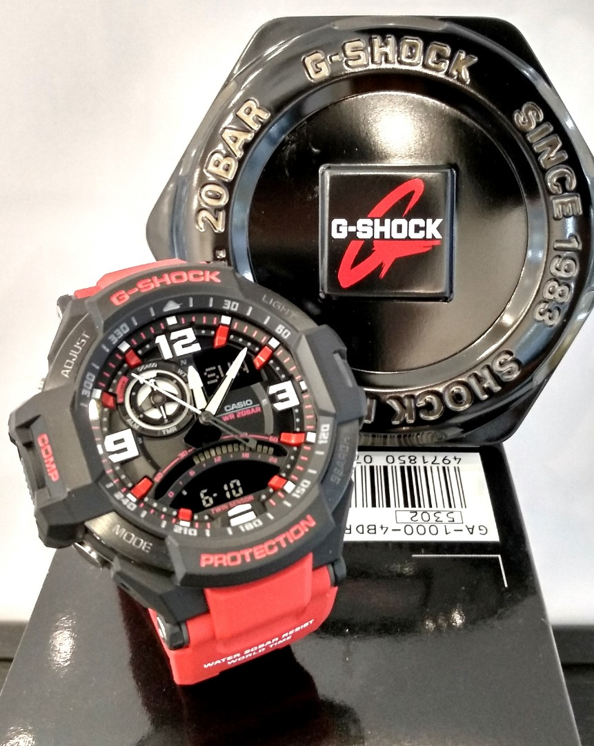 Free Delivery Brand New 100 Authentic Casio Gshock Gravity Master G Shock Ga 1000 1adr Twin Sensor Red Mens Watch 4bdr Fashion