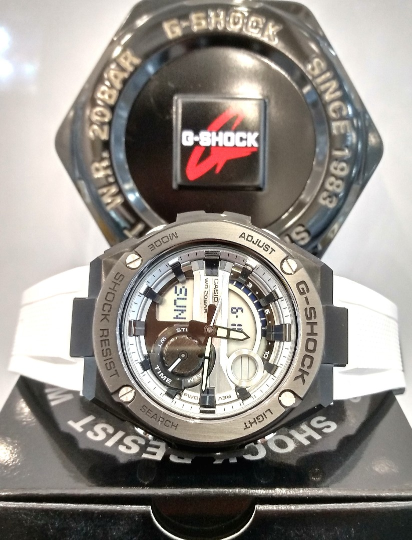 Free Delivery Brand New 100 Authentic Casio Gshock Gsteel White G Shock Gst 210b 4a Photo