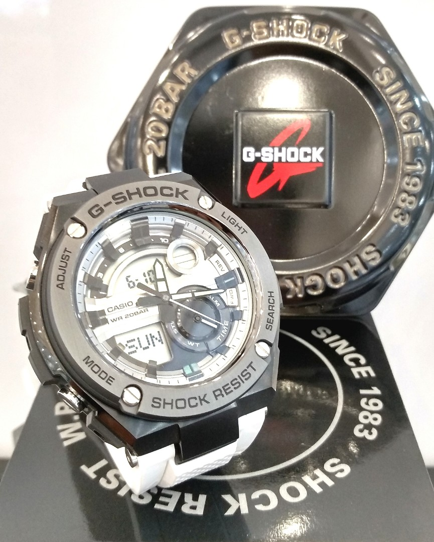 Free Delivery Brand New 100 Authentic Casio Gshock Gsteel White G Shock Mtg S1000d 1a4 Sapphire Crystal Strap On Pvd Black Case Mens Casual Watch Gst 210b 7adr Fashion