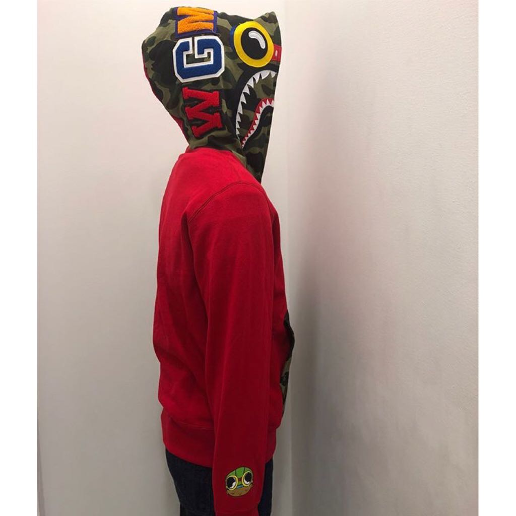 1bd5f15b7314 BAPE X HEBRU BRANTLEY FLYBOY SHARK FULL ZIP HOODIE