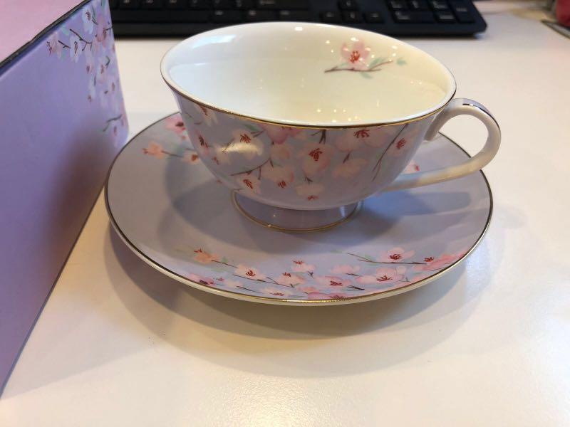 crabtree-evelyn-tea-cup-saucer-set-mint 花茶杯