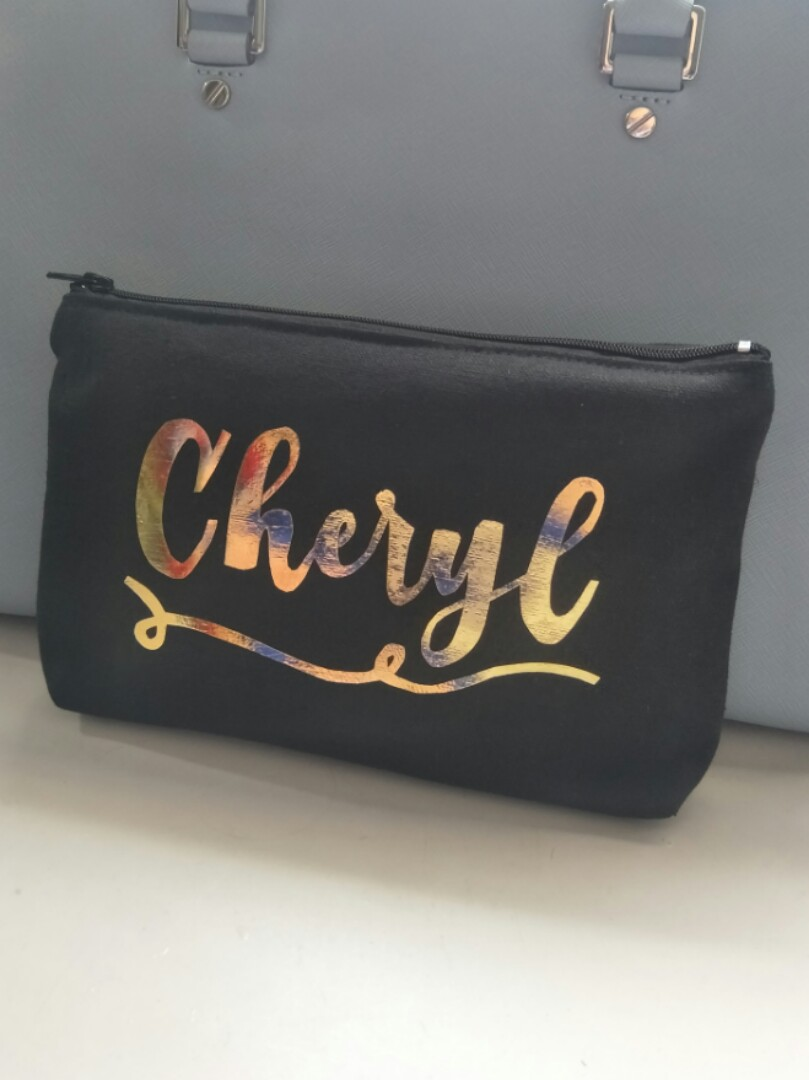 Customised pouch gold foil font name