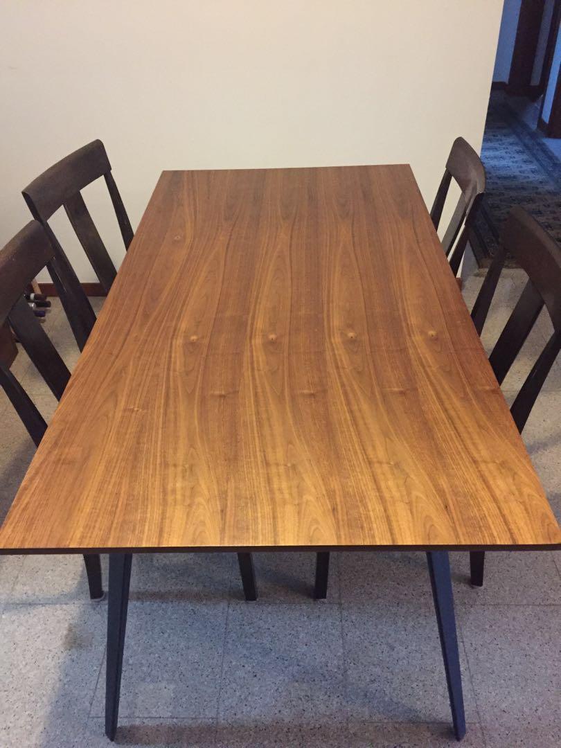 Dining Table 169cm X 85cm Wood Top Metal Legs