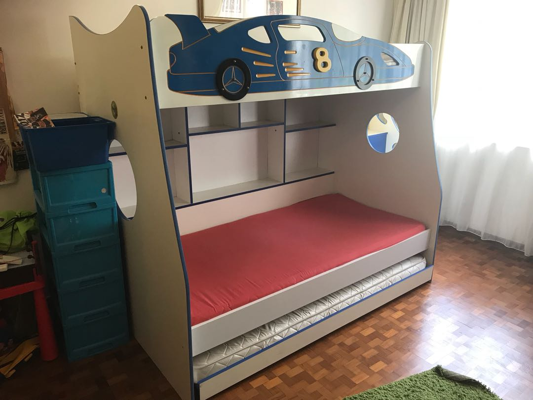 Double Decker Race Car Bed With Trundle Furniture Beds Mattresses On Carousell