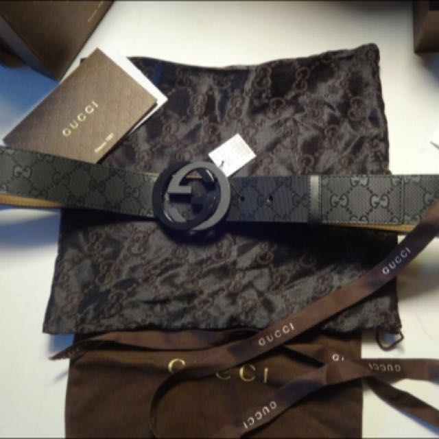 3a6831aef Gucci Black Imprime Double G Belt, Luxury on Carousell