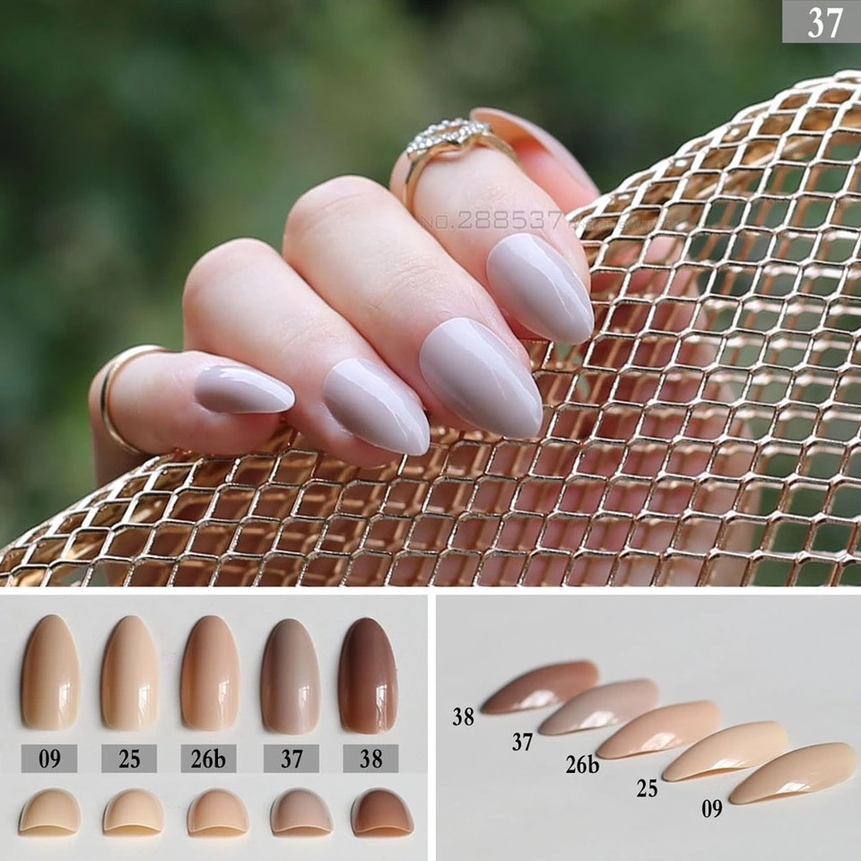 Light Brown fake stiletto nails Press On Nails Pointed Nude color ...