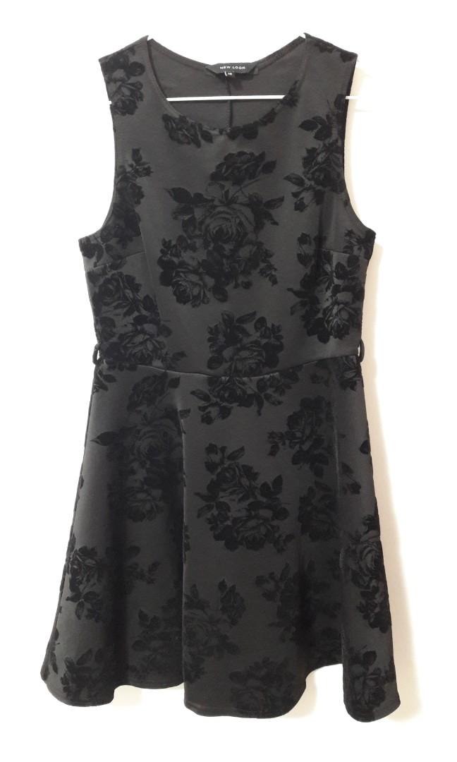 0289031c8 New Look Black Rose Flare Dress, Women's Fashion, Clothes, Dresses ...