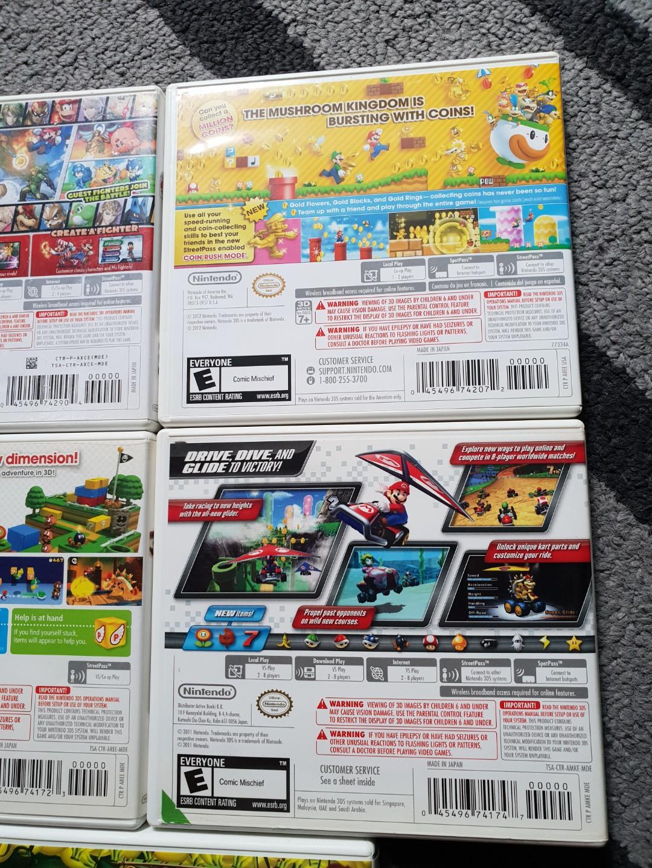 Nintendo 3DS Games/ Super smash bros/ Super Mario bros2/ Super Mario 3d land/ MARIO kart 7/ Donkey Kong country