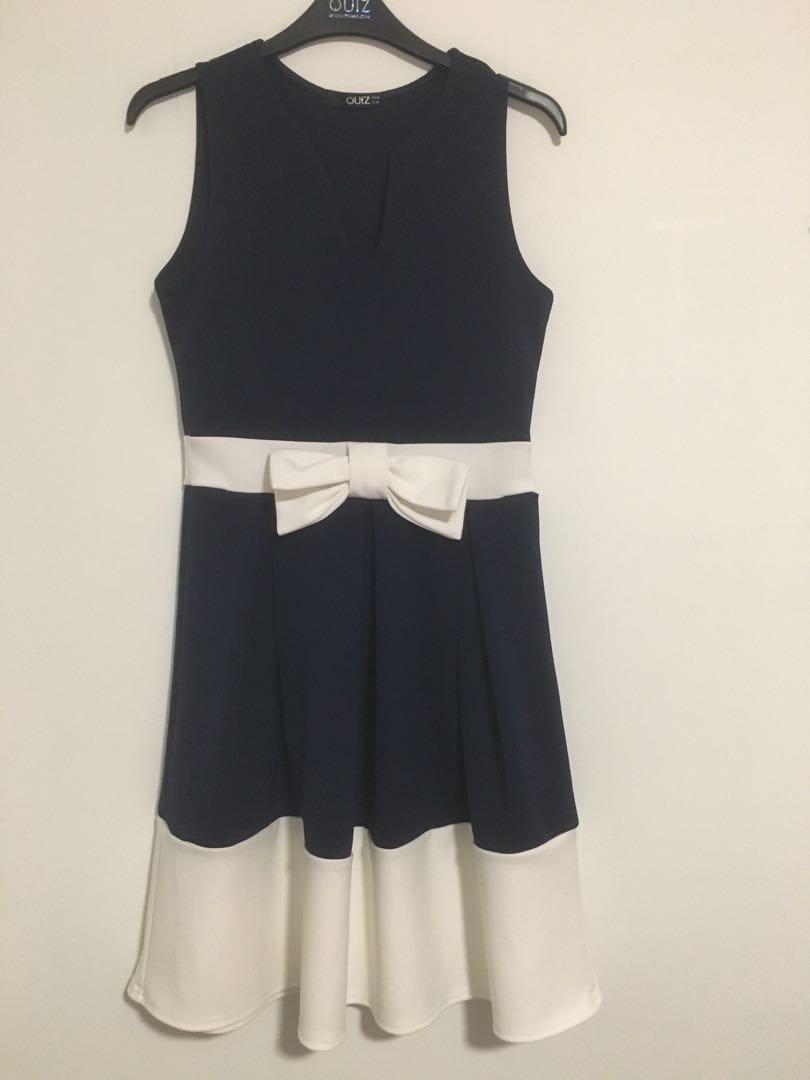 Quiz Clothing navy blue and white flare/a-line dress